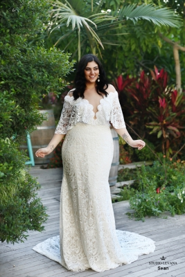 Plus size boho wedding dress Sean-(1)