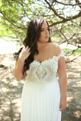 Plus size boho wedding dress Valentina-(1)